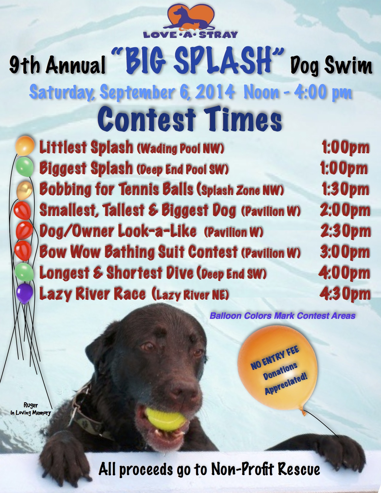 2014 Big Splash Contest Times